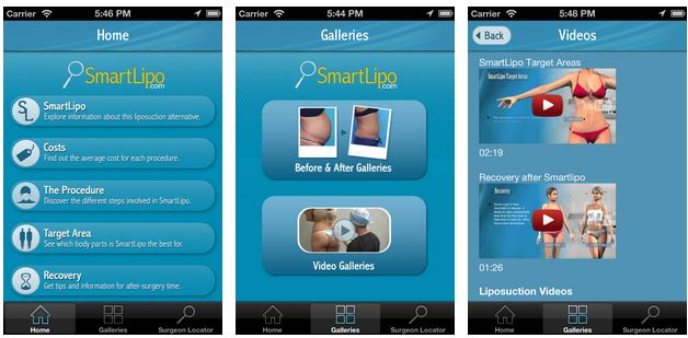 New Smartlipo IPhone App Available for Download: Browse Key Information (Procedure, Costs, Target Areas, Recovery) - Locate Surgeons and contact them